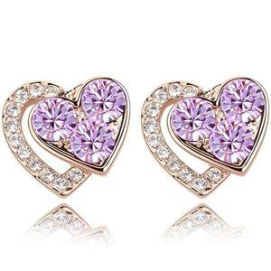 Náušnice Lovely Heart-Fialová KP5533